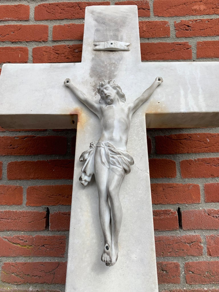 French Early 1900s Hand Carved Marble Crucifix / Wall Cross with Jesus Christ Sculpture For Sale