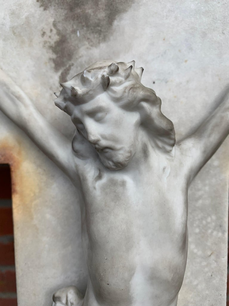 Hand-Crafted Early 1900s Hand Carved Marble Crucifix / Wall Cross with Jesus Christ Sculpture For Sale
