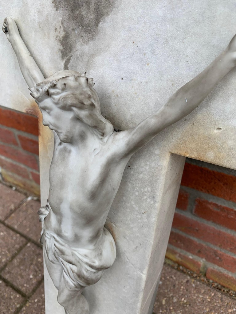 Early 1900s Hand Carved Marble Crucifix / Wall Cross with Jesus Christ Sculpture For Sale 2