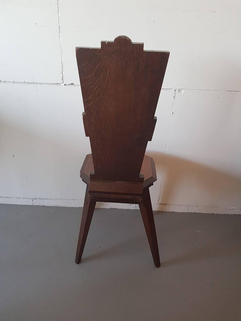 Early 1900s Hand-Carved Oak Art Nouveau Hall Chair In Excellent Condition For Sale In Raalte, NL