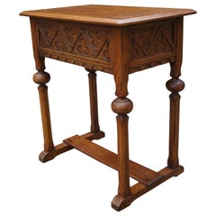 Early 1900s Handcrafted Gothic Revival Work or Side Table with Trefoil Decor