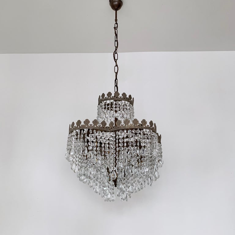 Early 1900s Heart Shaped Button Waterfall Chandelier