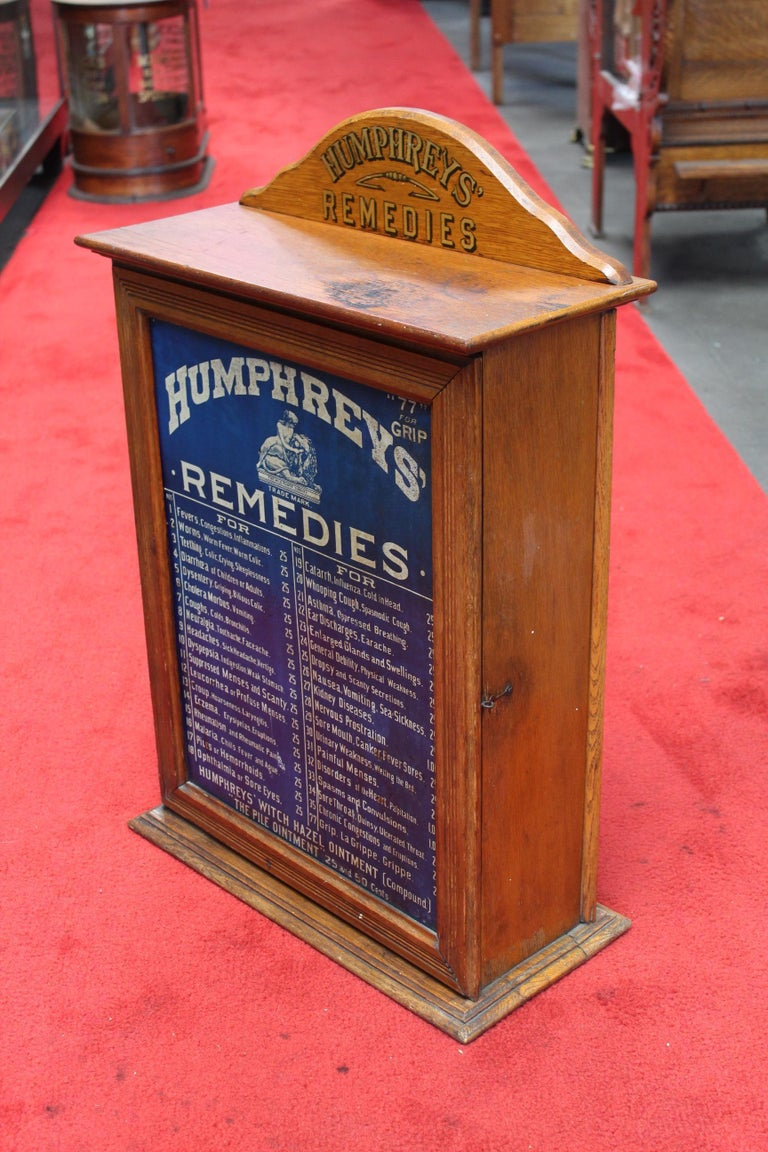 Early 1900s Humphrey's Remedies Store Display Cabinet For Sale 5