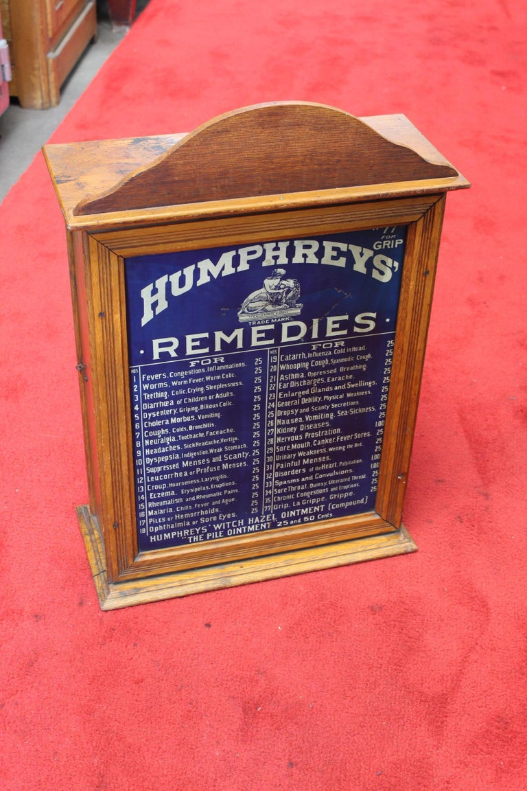 Early 1900s Humphrey's Remedies Store Display Cabinet For Sale 7
