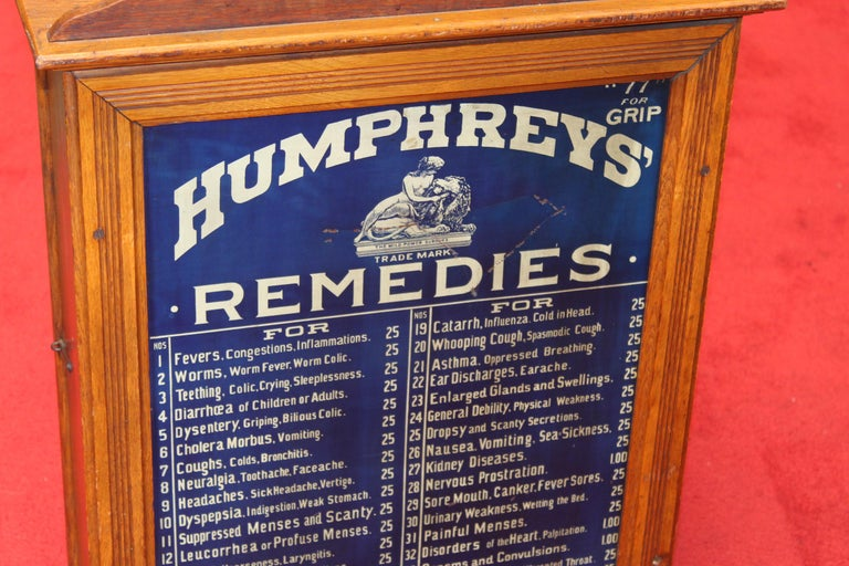 Early 1900s Humphrey's Remedies Store Display Cabinet For Sale 8
