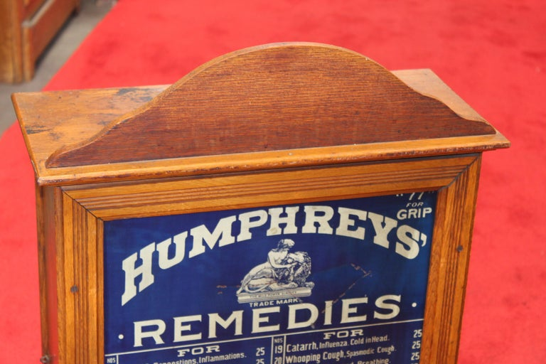 Early 1900s Humphrey's Remedies Store Display Cabinet For Sale 10