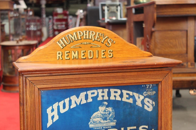American Early 1900s Humphrey's Remedies Store Display Cabinet For Sale