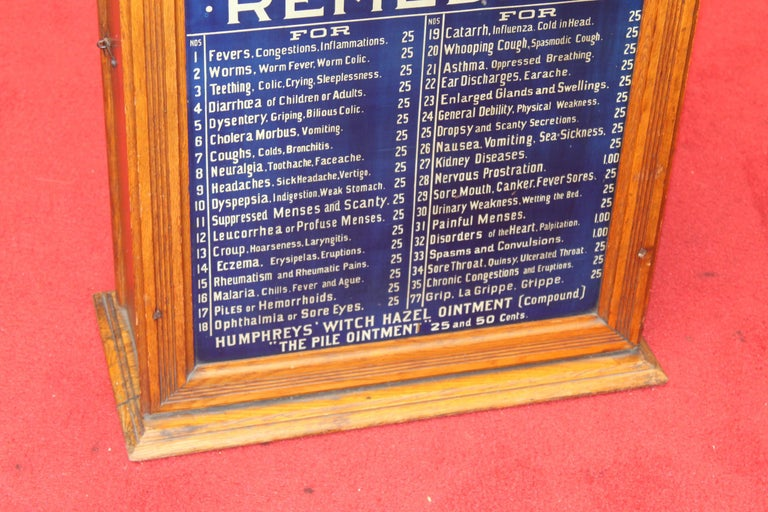 Early 1900s Humphrey's Remedies Store Display Cabinet In Fair Condition For Sale In Orange, CA