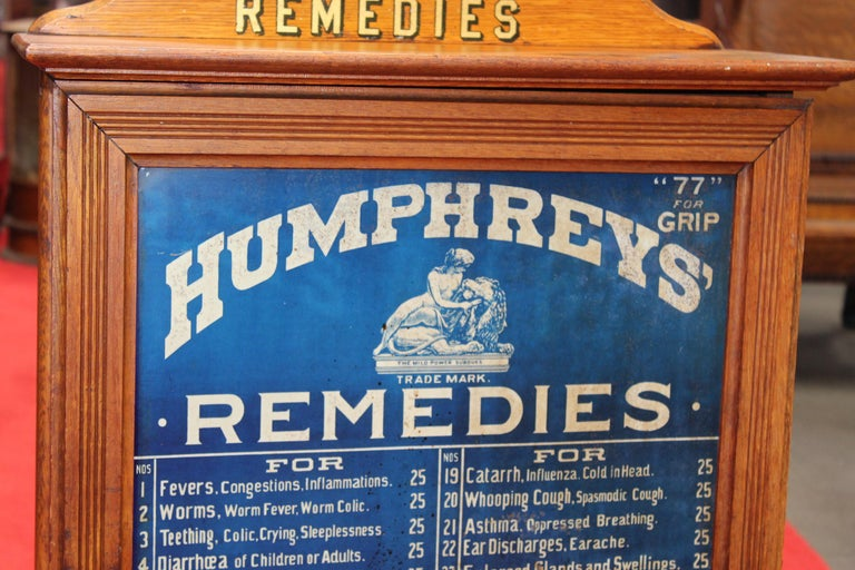 20th Century Early 1900s Humphrey's Remedies Store Display Cabinet For Sale