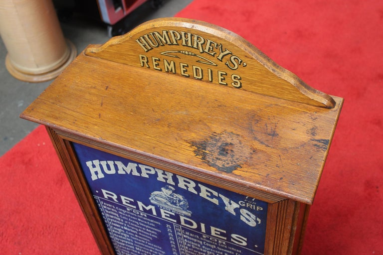Early 1900s Humphrey's Remedies Store Display Cabinet For Sale 1