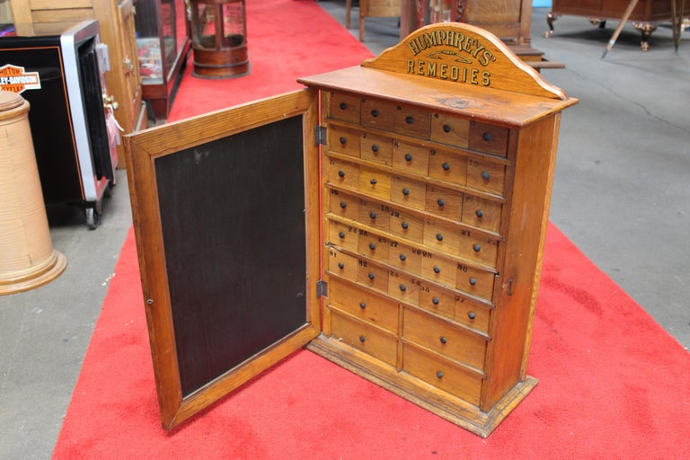 Early 1900s Humphrey's Remedies Store Display Cabinet For Sale 2