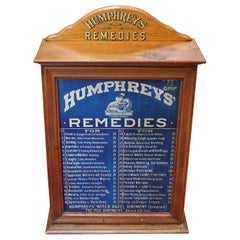 Early 1900s Humphrey's Remedies Store Display Cabinet