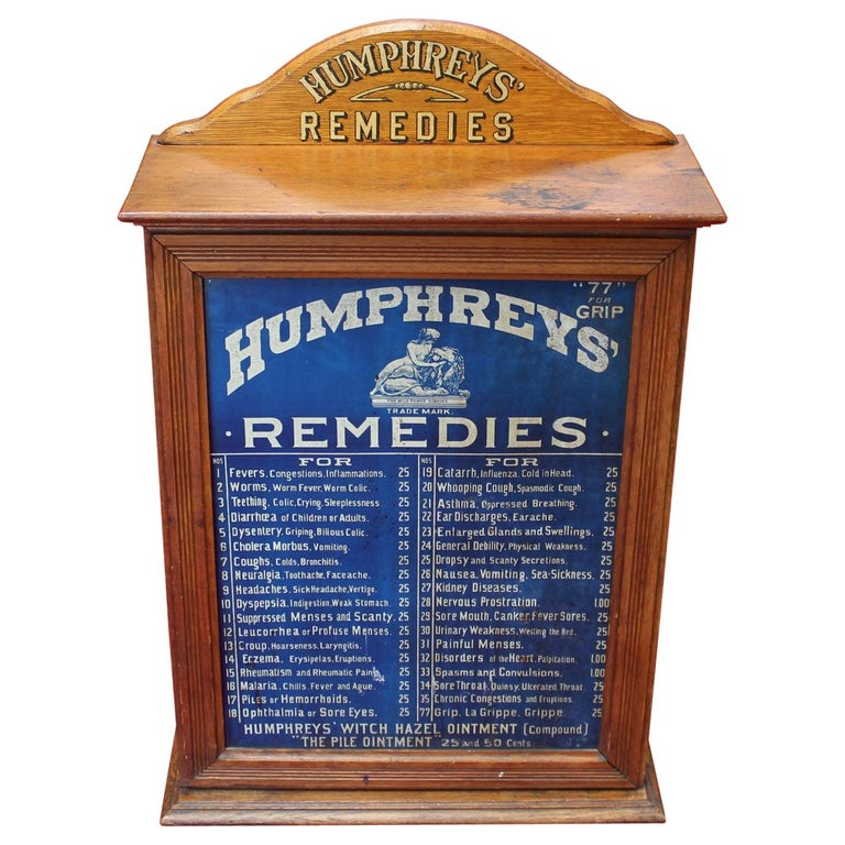 Early 1900s Humphrey's Remedies Store Display Cabinet For Sale