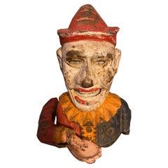 Early 1900s Humpty Dumpty Circus Clown Cast Iron Mechanical Bank