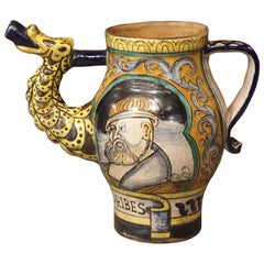 Early 1900s Italian Majolica Orciuolo Apothecary Pitcher