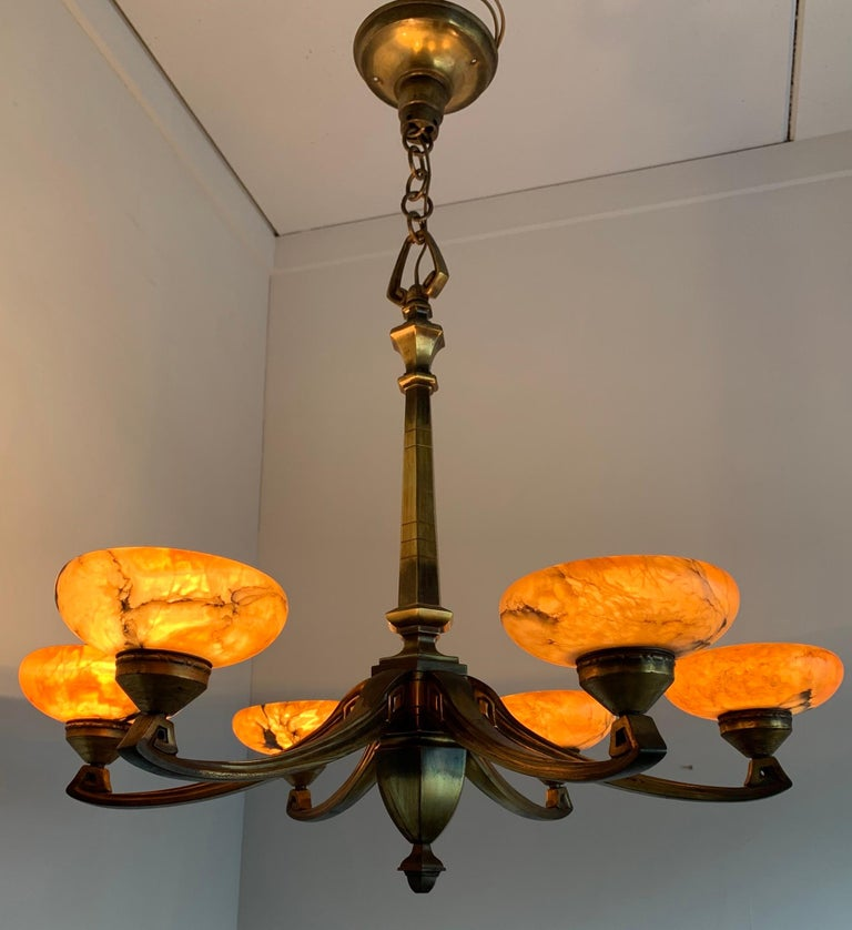 Early 1900s Jugendstil Bronze Pendant / Chandelier with Six Alabaster Shades In Excellent Condition For Sale In Lisse, NL