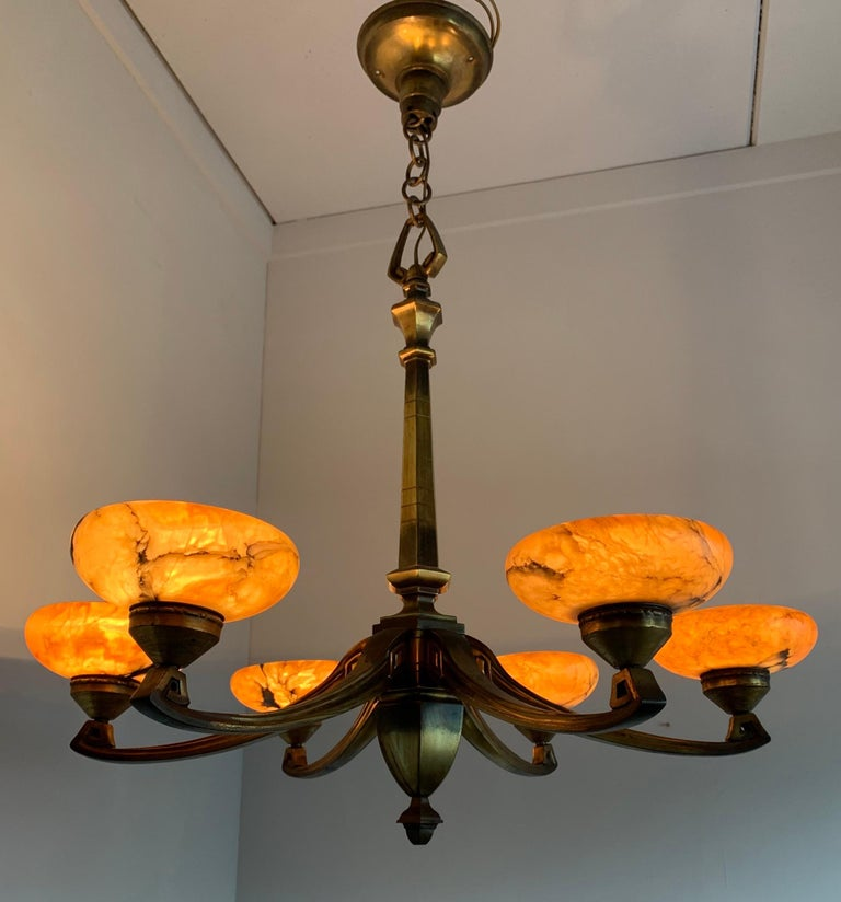 French Early 1900s Jugendstil Bronze Pendant / Chandelier with Six Alabaster Shades For Sale