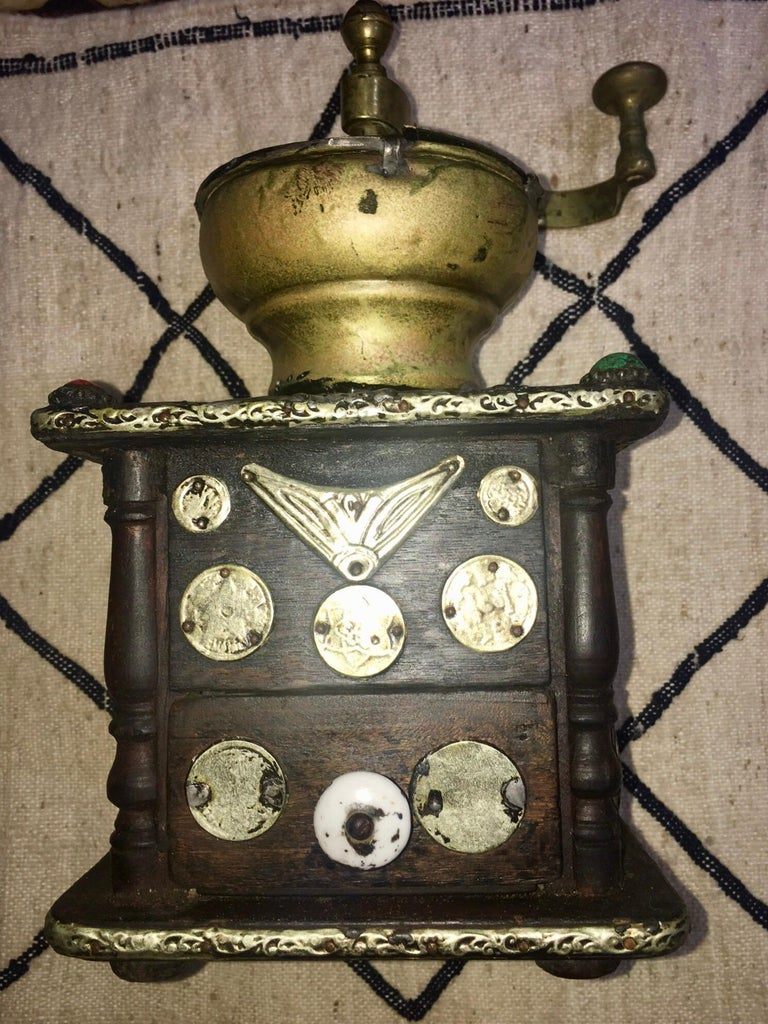 Early 1900s Moroccan Hand Crank Coffee Grinder Silver, Ebony, Coins Functional For Sale 4