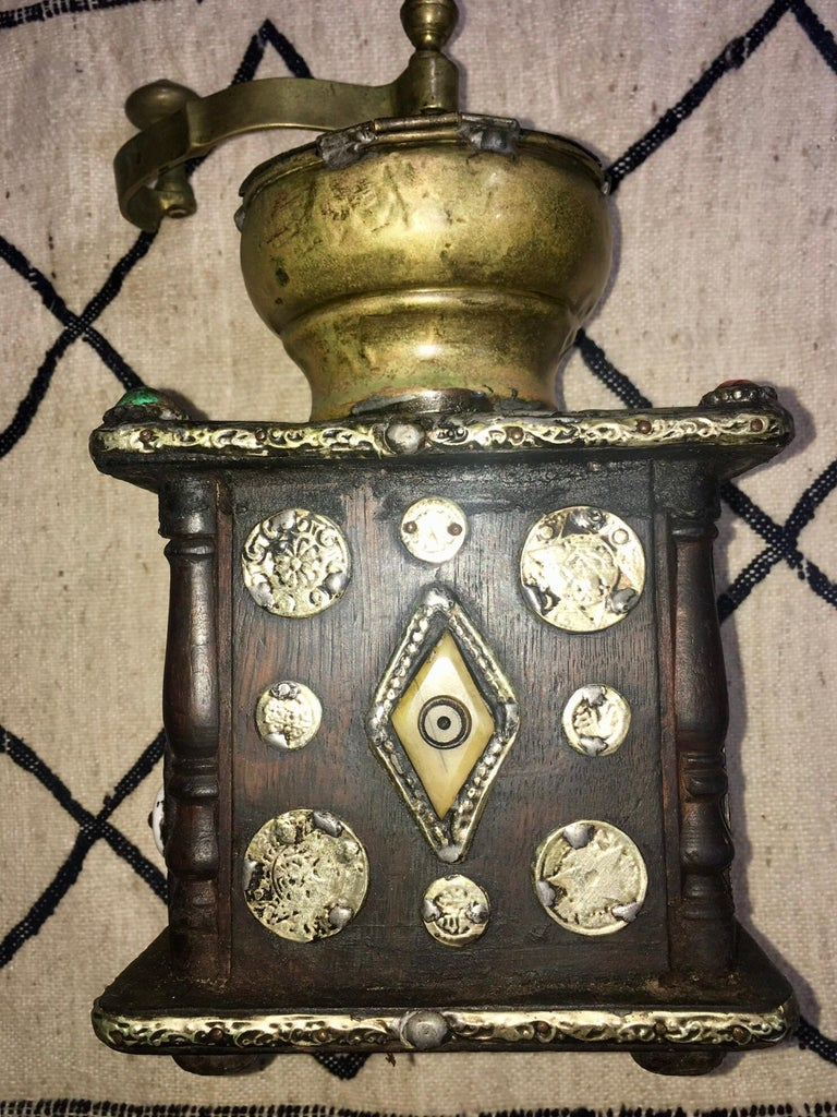 Early 1900s Moroccan Hand Crank Coffee Grinder Silver, Ebony, Coins Functional For Sale 5