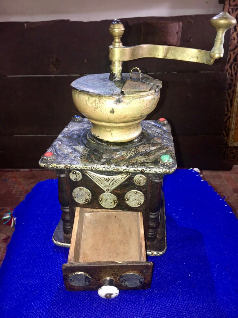 Tribal Early 1900s Moroccan Hand Crank Coffee Grinder Silver, Ebony, Coins Functional For Sale