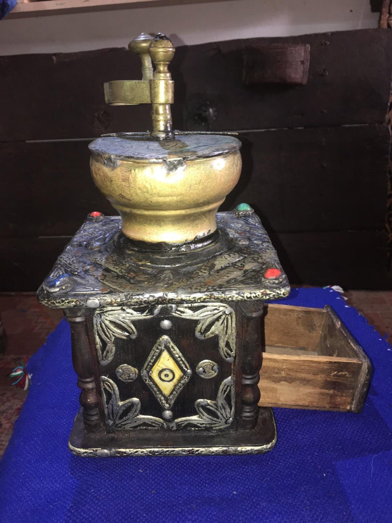 Etched Early 1900s Moroccan Hand Crank Coffee Grinder Silver, Ebony, Coins Functional For Sale