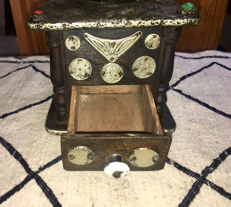 Early 1900s Moroccan Hand Crank Coffee Grinder Silver, Ebony, Coins Functional For Sale 3