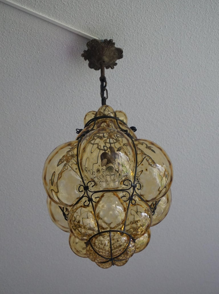 Early 1900s Mouthblown Amber Glass in Iron Frame Venetian Pendant or Chandelier For Sale 9