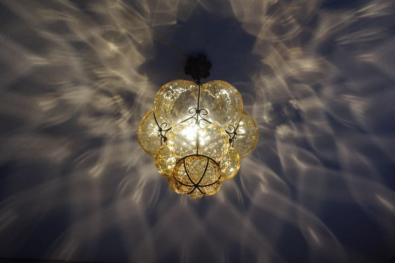 Early 1900s Mouthblown Amber Glass in Iron Frame Venetian Pendant or Chandelier For Sale 10
