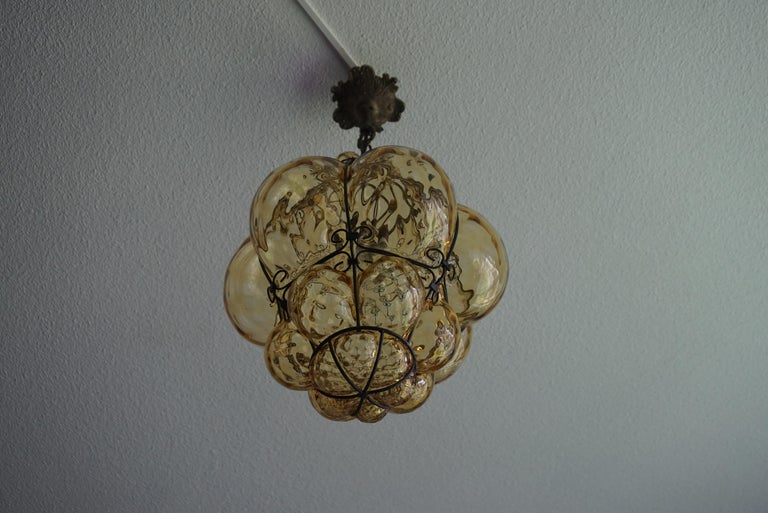 Italian Early 1900s Mouthblown Amber Glass in Iron Frame Venetian Pendant or Chandelier For Sale