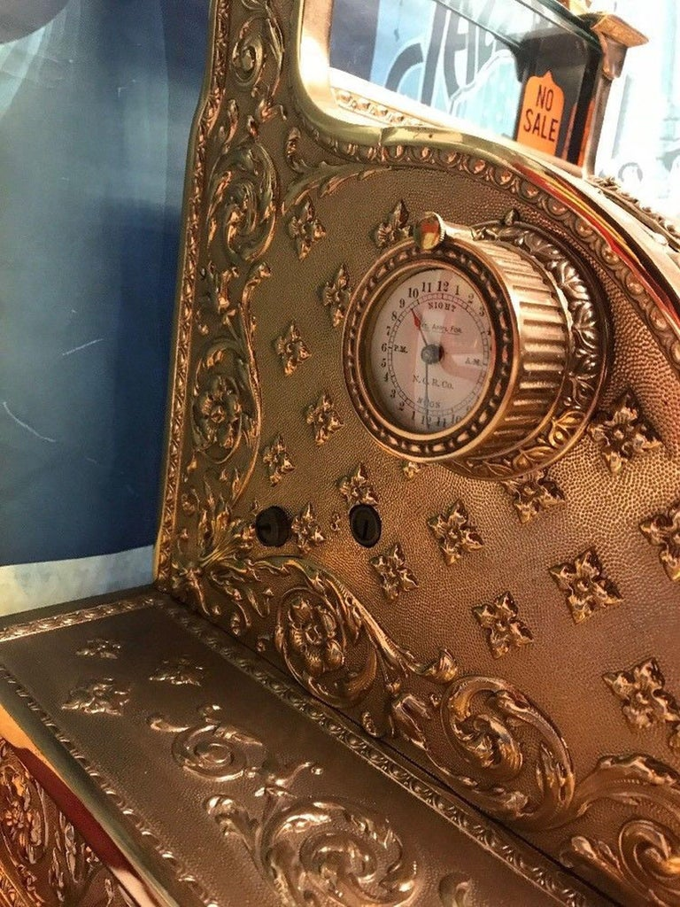 Early 1900s National Cash Register Model 52 With Clock For