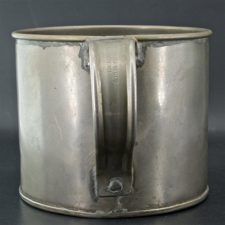 Industrial Early 1900s Oyster House Gallon Tin Cup Baltimore Rare Chesapeake Antique For Sale