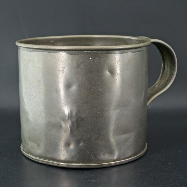 Hand-Crafted Early 1900s Oyster House Gallon Tin Cup Baltimore Rare Chesapeake Antique For Sale