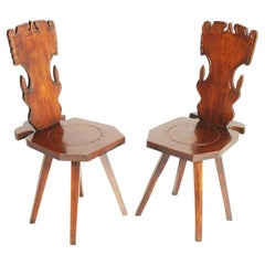 Early 1900s Pair Antique Tyrolean Stool Chair in Hand-Carved Walnut Wax Polished