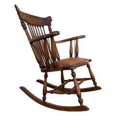 Early 1900s Press Back Rocking Chair with New Leather Seat