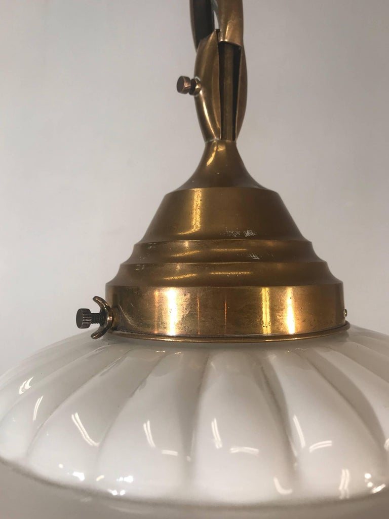 Early 1900s Rare Art Deco Pendant / Light Fixture with Glass Shade & Brass Chain For Sale 6