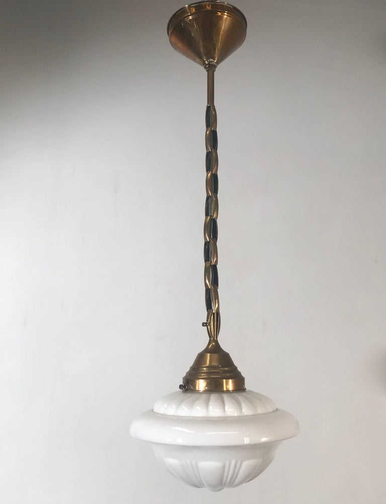 Early 1900s Rare Art Deco Pendant / Light Fixture with Glass Shade & Brass Chain For Sale 8