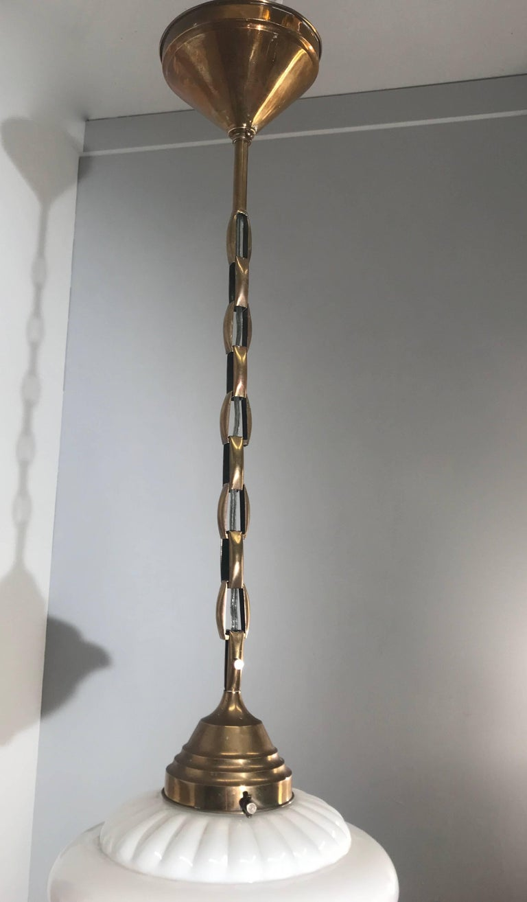 European Early 1900s Rare Art Deco Pendant / Light Fixture with Glass Shade & Brass Chain For Sale