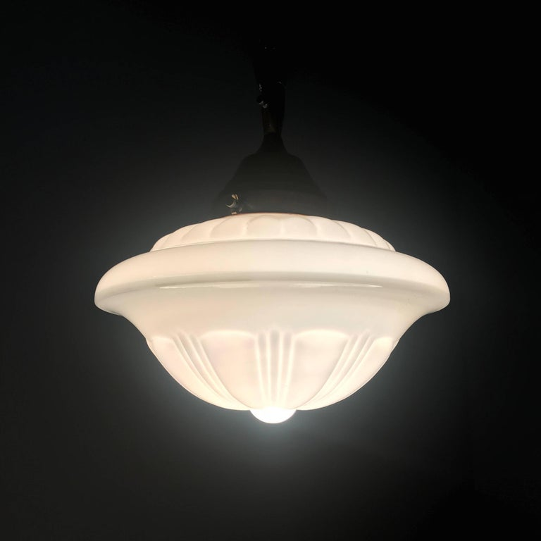 Hand-Crafted Early 1900s Rare Art Deco Pendant / Light Fixture with Glass Shade & Brass Chain For Sale