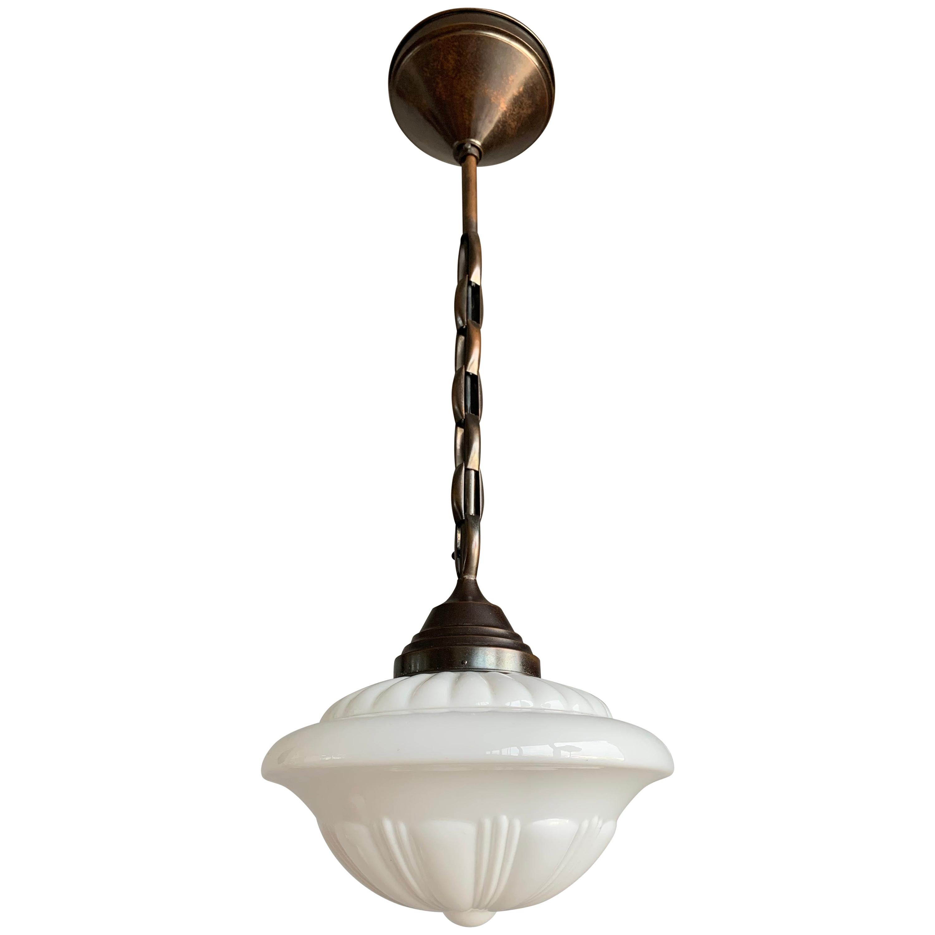 Early 1900s Rare Art Deco Pendant / Light Fixture with Glass Shade & Brass Chain