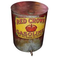 Early 1900s Red Crown Standard Oil Original Gasoline Barrel