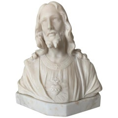 Early 1900s Signed Marble Sculpture / Bust of Jesus Christ on an Art Deco Base