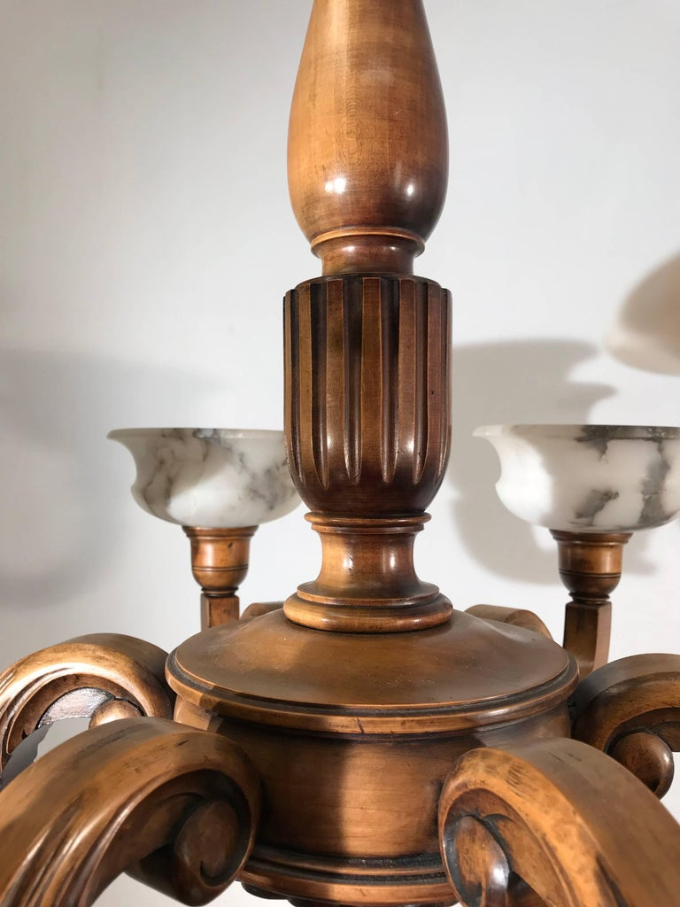Early 1900s Six Light Quality Carved Wood Chandelier with Alabaster Shades For Sale 5