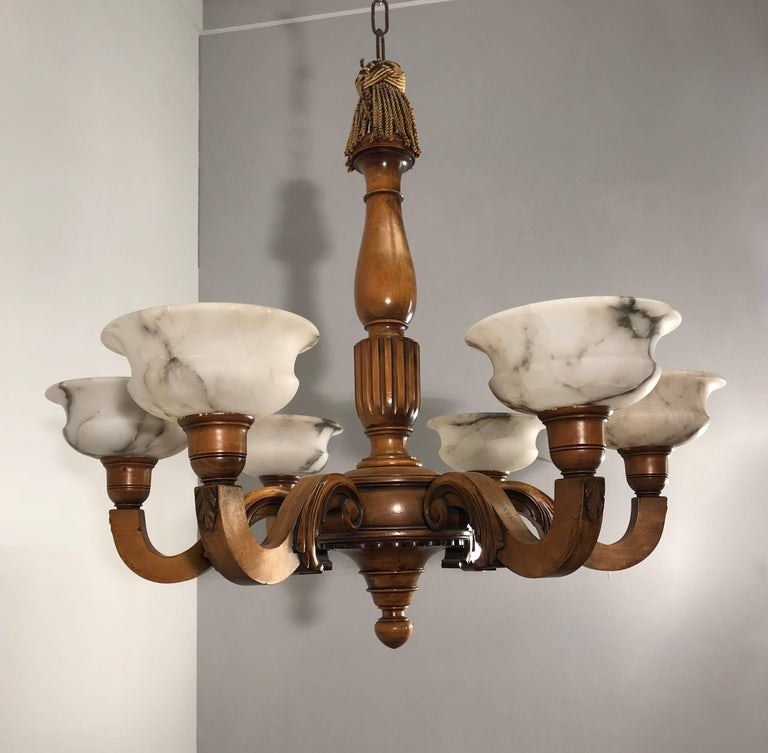 Early 1900s Six Light Quality Carved Wood Chandelier with Alabaster Shades For Sale 7