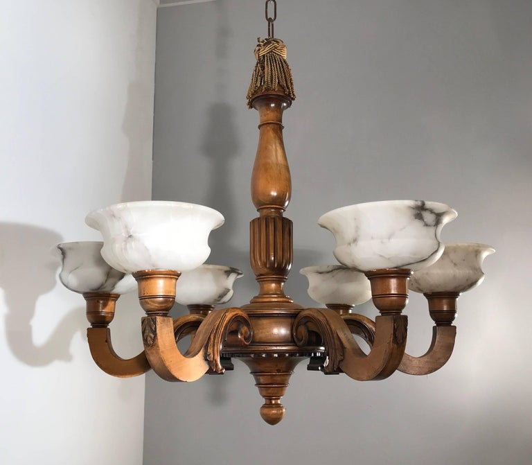 Early 1900s Six Light Quality Carved Wood Chandelier with Alabaster Shades For Sale 1