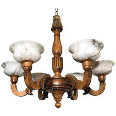 Early 1900s Six Light Quality Carved Wood Chandelier with Alabaster Shades