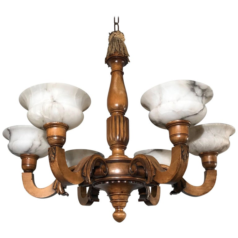 Early 1900s Six Light Quality Carved Wood Chandelier with Alabaster Shades For Sale