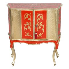Early 1900s Small Sideboard from Florence, Gold Leaf and Florentine Red Lacquer