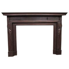 Early 1900s Solid Mahogany Federal Style Mantel