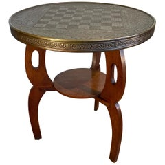 Early 1900s Stylish Arts & Crafts Oak Chess Table with Embossed Brass Table Top