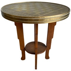 Early 1900s Stylish Dutch Art Deco Oak Chess Table with Embossed Brass Table Top